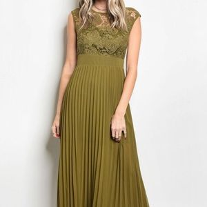 Olive Pleated Lace Crochet Long Maxi Dress NEW